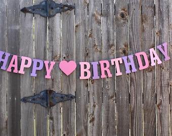 Pink Purple Birthday Banner, Purple Happy Birthday Banner, Birthday Party Banner, Purple Birthday, Princess Birthday, 1st Birthday Banner
