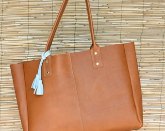 Olive Work Tote / Leather Tote handbag -Free US shipping!