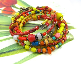 African Trade Bead Stack Bracelets, Red and Yellow Ghana Bracelet, Colorful Czech Glass Bracelet, Memory Wire Bracelets, Multi Color Set