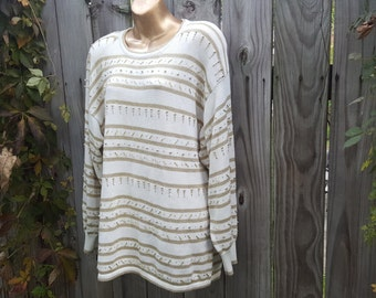 Vintage 80s Lisa Ashely Originals Oversized Creme and Gold Sweater / Size Large