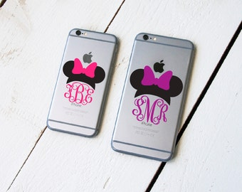 MINNIE EARS MONOGRAM Decal for Laptops and Phones Small Interlocking Vine Monogram Circle Scrolly