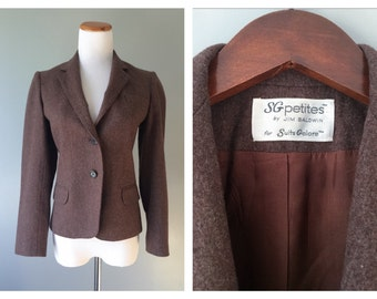 Vintage Brown Wool Blazer Jacket English Style Horseback Riding Jacket 1970's Fitted Women's Tailored Suit Jacket Blazer Size 4 Petite Small