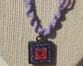 Squared Flower Pendant Hemp Necklace
