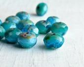Stormy Seas - faceted aqua rondelles (10), czech glass rondelles, turquoise beads, rondelle beads, faceted beads