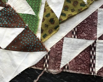4 Antique Quilt Blocks- hand pieced // early fabrics, Victorian, 1800s > arsenic green, browns, prints