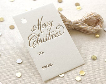 Letterpress Gift Tags - Merry Christmas, Vintage font, Gold ink, Set of 10, Ready to Ship!