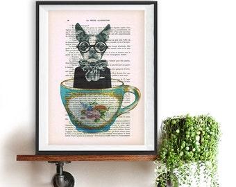 French Bulldog mixed media art, boston terrier sprint, bulldog illustration, bulldog for Christmas, bulldog art, boston terrier art