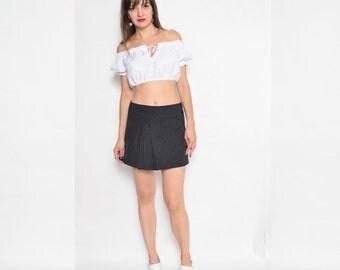 Vintage 90's Pinstripe Mini Skirt / Black Pleated Mini Skirt / Wrap Up Mini Skirt - Size Small