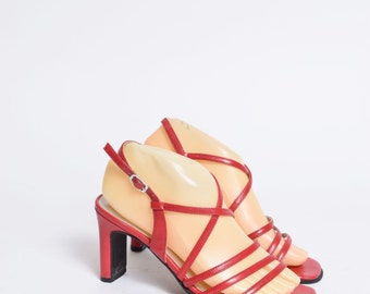 Vintage 90's Red Leather Chunky Heel Strappy Sandals