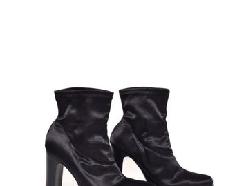 Vintage 90's Black High Heel Satin Boots