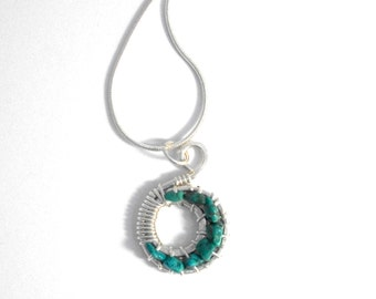 Turquoise crescent moon pendant, 925 Sterling Silver moon necklace, ethical eco friendly jewellery