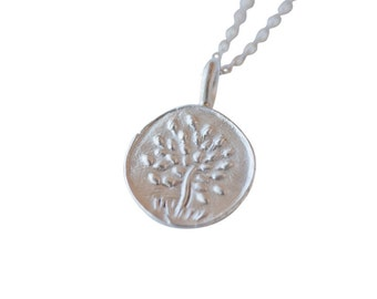 Recycled Silver Tree of Life Charm Necklace, No. 3, Spring Nature Jewelry