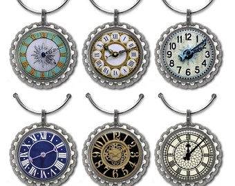 Clock wine charms timepiece drink tags vintage clock face elegant party favors hostess gift under 20.