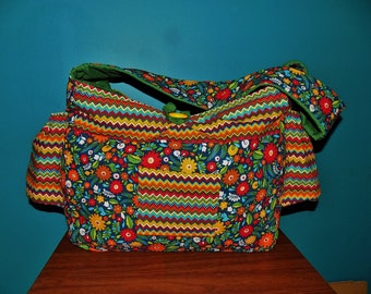 Diaper Bag - Floral Diaper Bag - Chevron Diaper Bag - Bold Colors