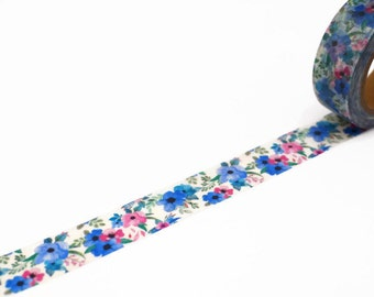 Poppy Washi Tape in Blue and Pink - Pretty Poppies Floral Masking Tape