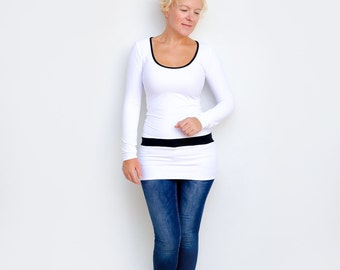 Black and White Top, Womens Tunic Top, Scoop Neck Tunic, Black White Tunic, Unique Long Top, Womens Top, White Tunic Top