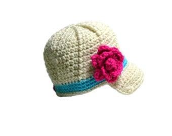Baby Hat, Girls Newsboy Hat, Toddler Girls, Crochet Newsboy Hat, Crochet Flower Hat, Baby Girls Hat, Newborn Photo Prop, Infant Girls Cap
