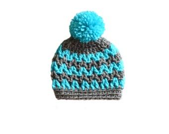 Chevron Hat Crochet Beanie Toddler Winter Hat Infant Hat Newborn Hospital Hat Baby Hat Baby Shower Gift Kids Winter Beanie Mens Crochet Hat