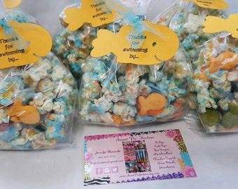 12- Goldfish Popcorn Treat Bags with Tags, Finding Dory Chocolate Drizzled Popcorn Favor Bags Under the Sea Popcorn Bubble Guppies Popcorn