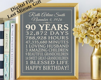 90th BIRTHDAY GIFT Poster Birthday Sign PRINTABLE Print Personalized Art 90 Years  16x20 Poster Digital Download Keepsake Last Minute Gift