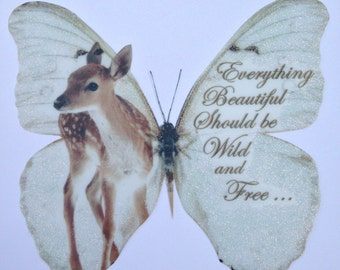 """British Wild Life Badger Otter Fox and Fawn Butterflies in Sparkling Snow-4 butterflies  with Quotes 3D Wall Decal 5"""" each"""
