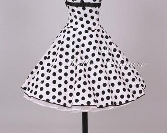 Custom Made & Handmade - 50s petticoat prom dress white/black item: 2304