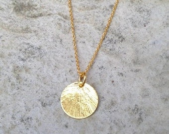 Gold Disc Necklace/ Gold Chain Necklace/ Gold Pendant Necklace/ Gold Necklace/ Circle Pendant/ Textured Necklace /  Valentines Gift
