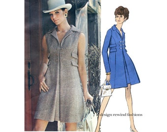 1960s Vogue 2202 MOD COATDRESS PATTERN Double Breasted High Waist Dress Vogue Americana Chester Weinberg Bust 32.5 Womens Sewing Patterns