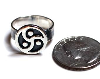 BDSM Emblem Symbol Rings Handmade, Sterling Silver, BDSM Triskele Symbol, Ring