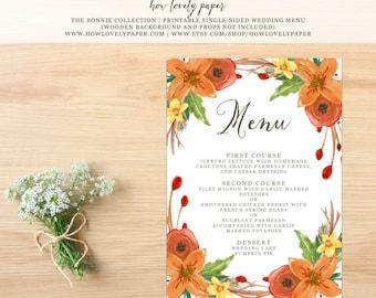 Printable Wedding Dinner Menu - the Bonnie Collection - Fall Wedding Dinner Menu