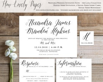 Printable Wedding Invitation Suite -the Layla Collection