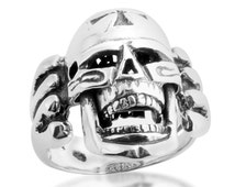 Large Skull with Cross Biker Motorcycle Hardcore Born to Ride Mens Ring Moving Jaw #925 Sterling Silver #Azaggi R0669S