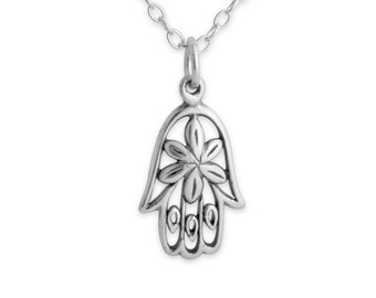 Floral Hamsa Hand of Fatima Jewish & Muslim Good Luck Amulet Spiritual Religious Charm Pendant Necklace #925 Sterling Silver #Azaggi N0466S