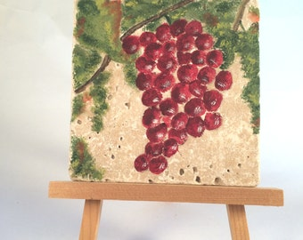 Gourmet Art Tile, Red Grapes and Green Leaves, Hand Painted Pumice Stone Tile with Red Grapes, Art for Kitchen, Dining Room, or Home Bar
