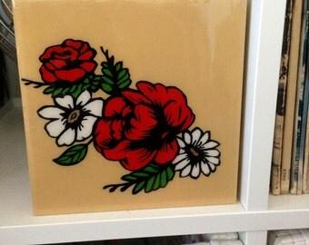 Classic Tattoo-Style Flower, Wall Art Stencil, Spray Paint