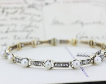 Victorian Pearl and Rose Cut Diamond Bracelet   Early Edwardian Bracelet   Anniversary Gift for Wife   Antique Bracelet   Victorian Bracelet