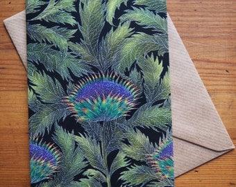 Artichoke Thistle Pattern Greetings Card
