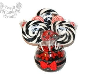 Small Ladybug Lollipop Candy Centerpiece, Ladybug Baby Shower, Ladybug Candy Buffet, Ladybug Theme Party Decor, Candy Table Centerpiece