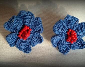 Colorful crochet earrings, flowers