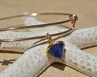 Gold filled adjustable bangle // gold filled bracelet // cobalt blue jewelry // gemstone spike // bridesmaid gift // bridesmaid jewelry