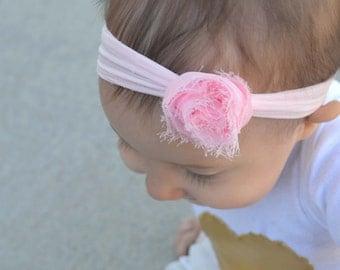 Pink Shabby Chic Rose Flower Headband/ Shabby Chic Headband/ Frayed Rose Headband/ Pink Newborn Headband/ Blush PInk Headband