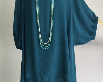 Plus Size 2X 3X 4X 5X Dark Green Teal 2 Layers Cotton Top Women Tunic Blouse Boat Neckline Dolman Sleeve