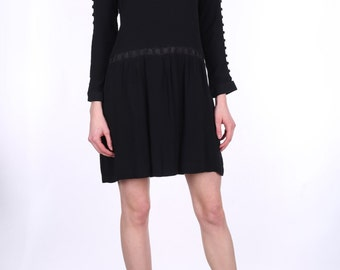 Black Viscose Long Sleeves Dress.