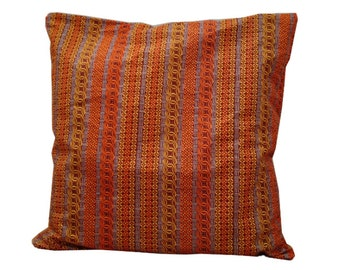 African Print Cushion, Teachers gift idea, Orange Brown Cushion Cover, READY TO SHIP, 20x20 Pillow Cover Boho Chic Tribal, Detola and Geek