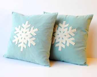 Two blue Snowflake Christmas Pillow covers, 18x18, holiday pillow, decorative pillow, cushion, Christmas decoration