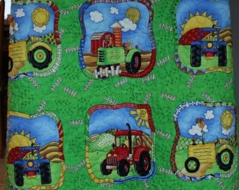 Farm tractor baby quilt - flannel back - green yellow blue orange brown blanket - crib quilt - baby shower gift
