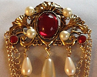 Renaissance Tudor filigree drop brooch glass pearls ruby rhinestone