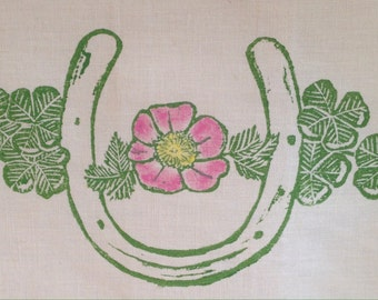 Block Printed Lucky Horse shoe with Hand Painted Wild Rose
