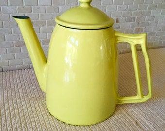 Vintage Descoware Yellow Enamel Over Cast Iron Coffee Pot Belgium