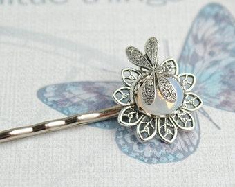Dragonfly Hair Pin, Pearl Hair Pin, Dragonfly Hair Clip, Moonstone Hair Pin, White Opal Dragonfly Bobby Pin, Violet Hair Accessory, Woodland